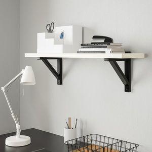 """2 Ikea Ekby Valtar 7 1/8"""" Black Shelf Brackets"""